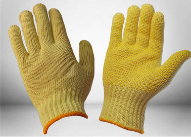 High Stretch Knitted PVC Dotted Gloves , Cut Resistant Work Gloves Two Sides Slip Proof